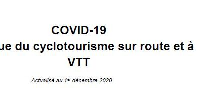 COVID-19 Pratique du cyclotourisme sur route et à VTT